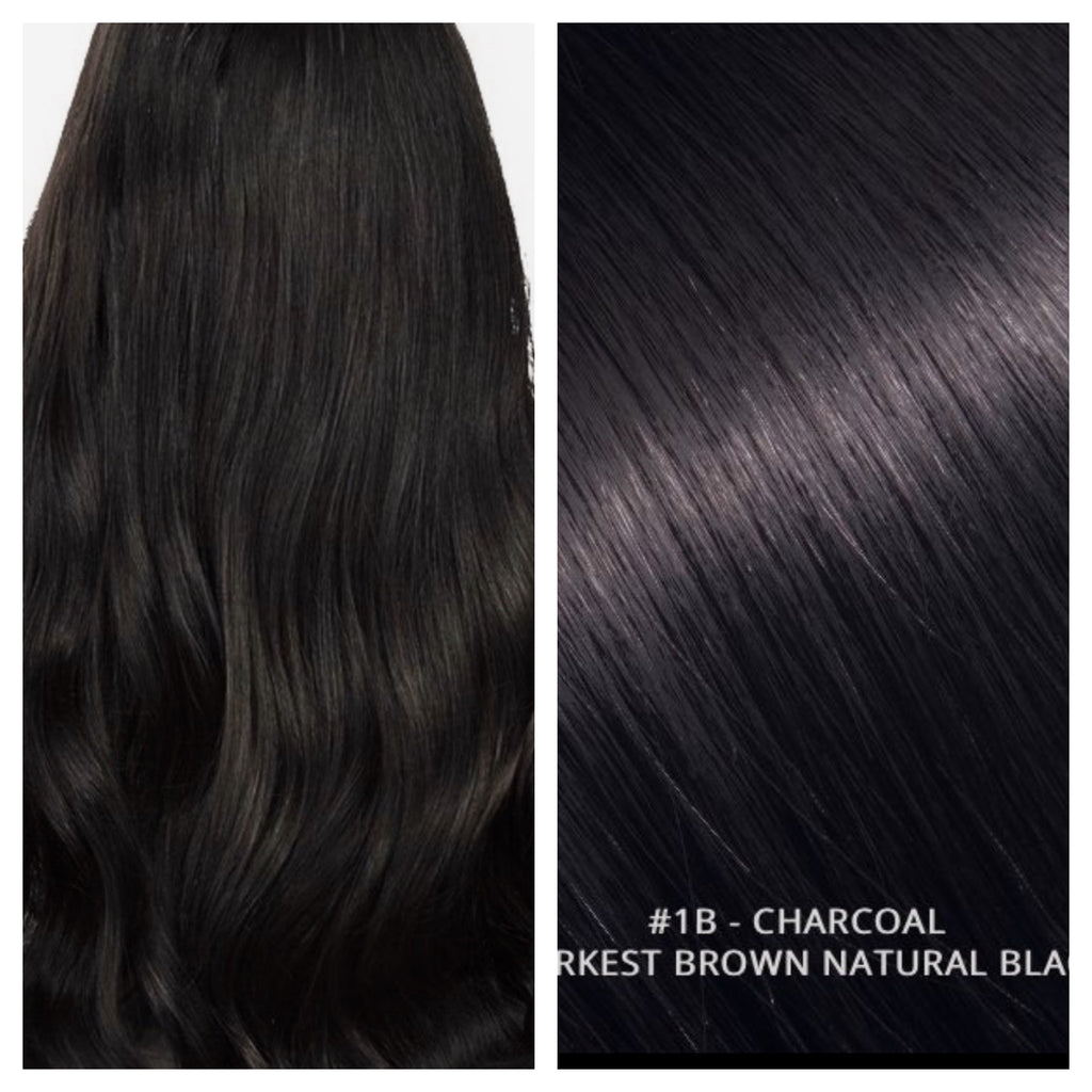 RUSSIAN CLIP IN HAIR EXTENSIONS #1B - CHARCOAL - DARKEST BROWN NATURAL BLACK