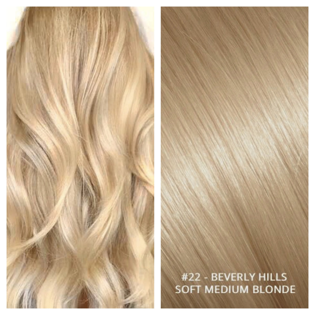 RUSSIAN CLIP IN HAIR EXTENSIONS #22 - BEVERLY HILLS - SOFT MEDIUM BLONDE