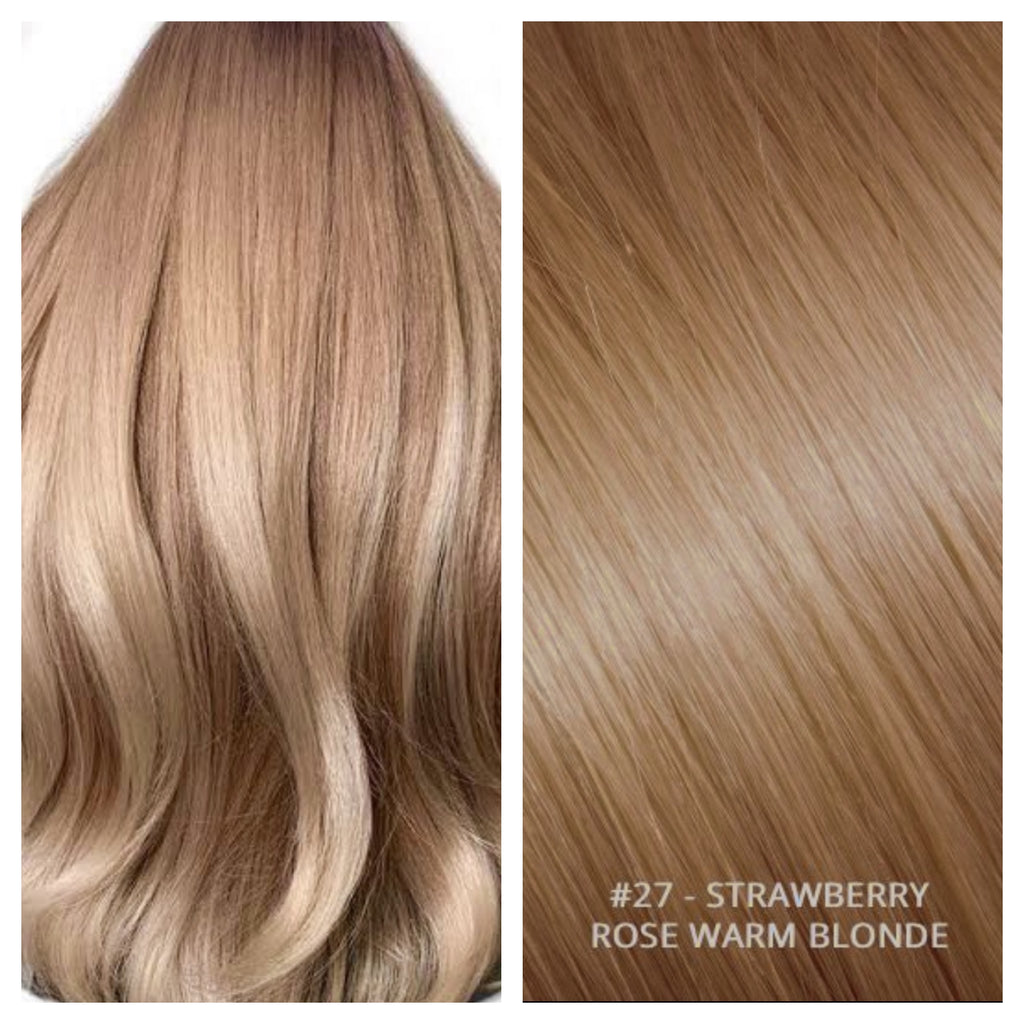 Russian weft weave hair extensions #27 - STRAWBERRY ROSE - WARM BLONDE