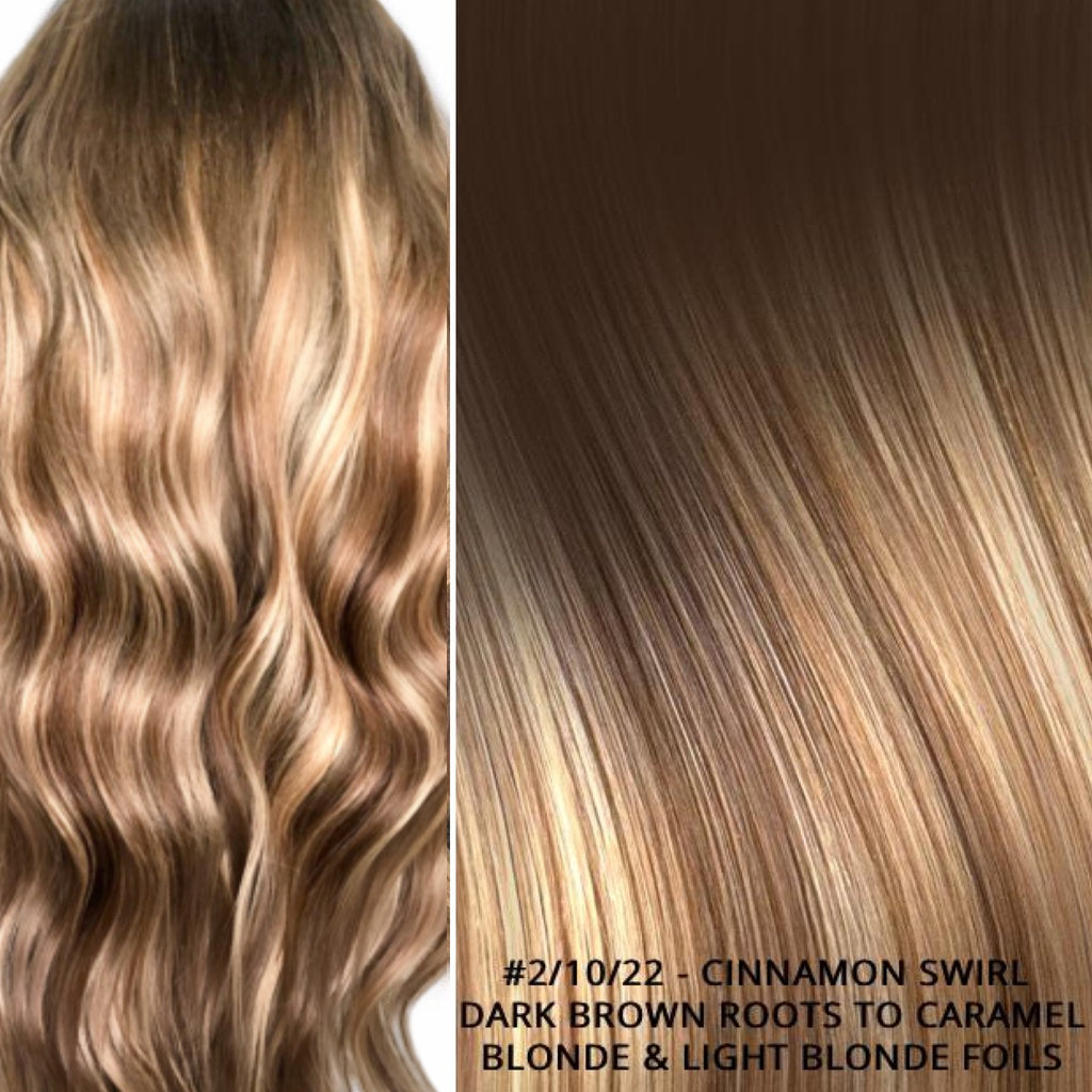 Russian tape short root balayage ombre hair extensions #2/10/22 - CINNAMON SWIRL - DARK BROWN ROOTS TO CARAMEL BLONDE & LIGHT BLONDE FOILS