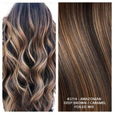 RUSSIAN WEFT WEAVE HAIR EXTENSIONS HIGHLIGHTS #2/14 - AMAZONIAN - DEEP BROWN / CARAMEL FOILED MIX