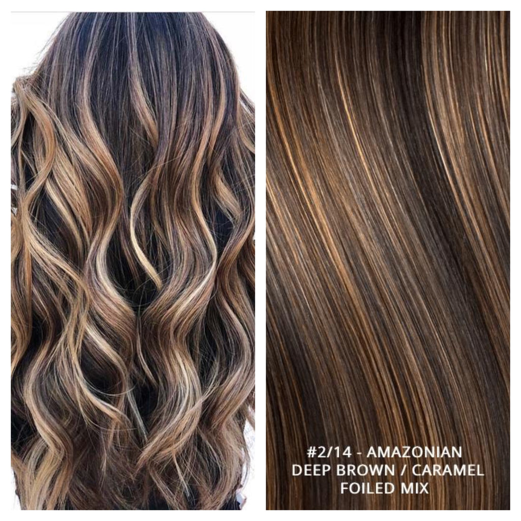 RUSSIAN MICRO-BEAD I TIP HAIR EXTENSIONS HIGHLIGHTS #2/14 - AMAZONIAN - DEEP BROWN / CARAMEL FOILED MIX