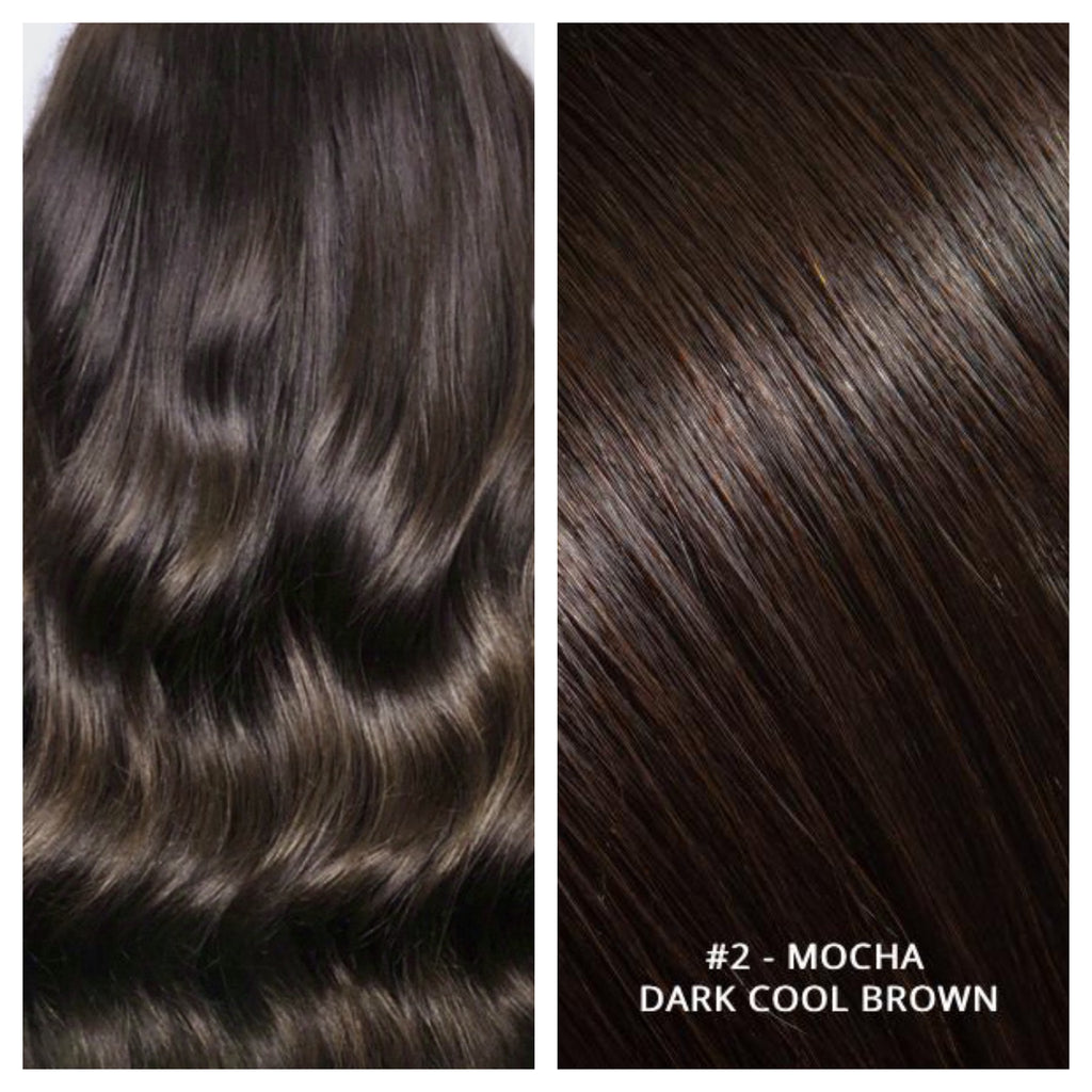 RUSSIAN TAPE HAIR EXTENSIONS #2 - MOCHA - DARK COOL BROWN
