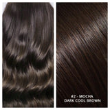 Russian weft weave hair extensions #2 - MOCHA - DARK COOL BROWN