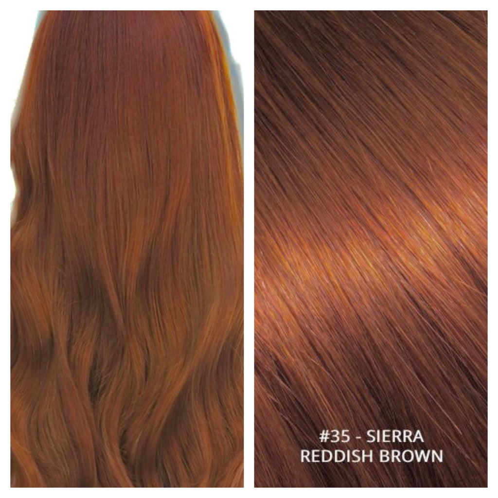RUSSIAN CLIP IN HAIR EXTENSIONS #35 - SIERRA - REDDISH BROWN