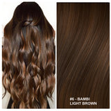 RUSSIAN CLIP IN HAIR EXTENSIONS #6 - BAMBI - LIGHT BROWN