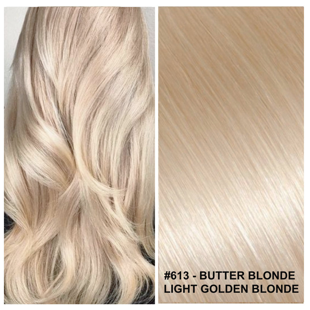 RUSSIAN TAPE HAIR EXTENSIONS #613 - BUTTER BLONDE - LIGHT GOLDEN BLONDE