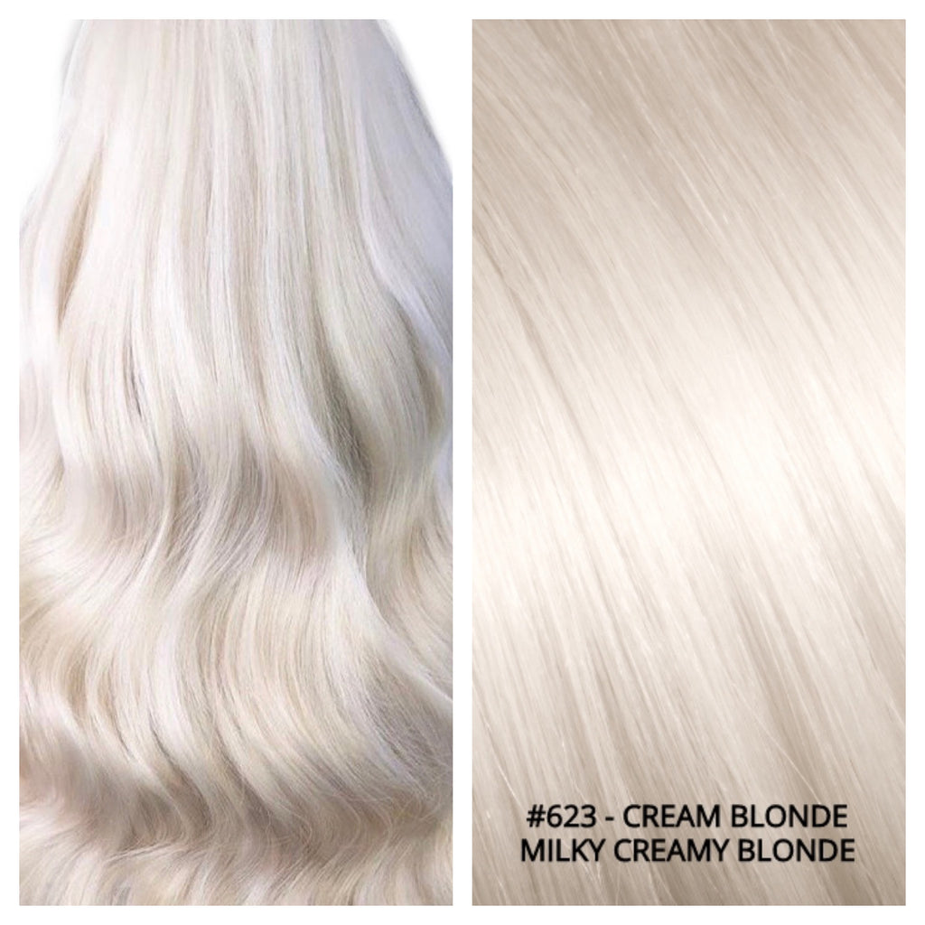 RUSSIAN CLIP IN HAIR EXTENSIONS #623 - CREAM BLONDE - MILKY CREAMY BLONDE