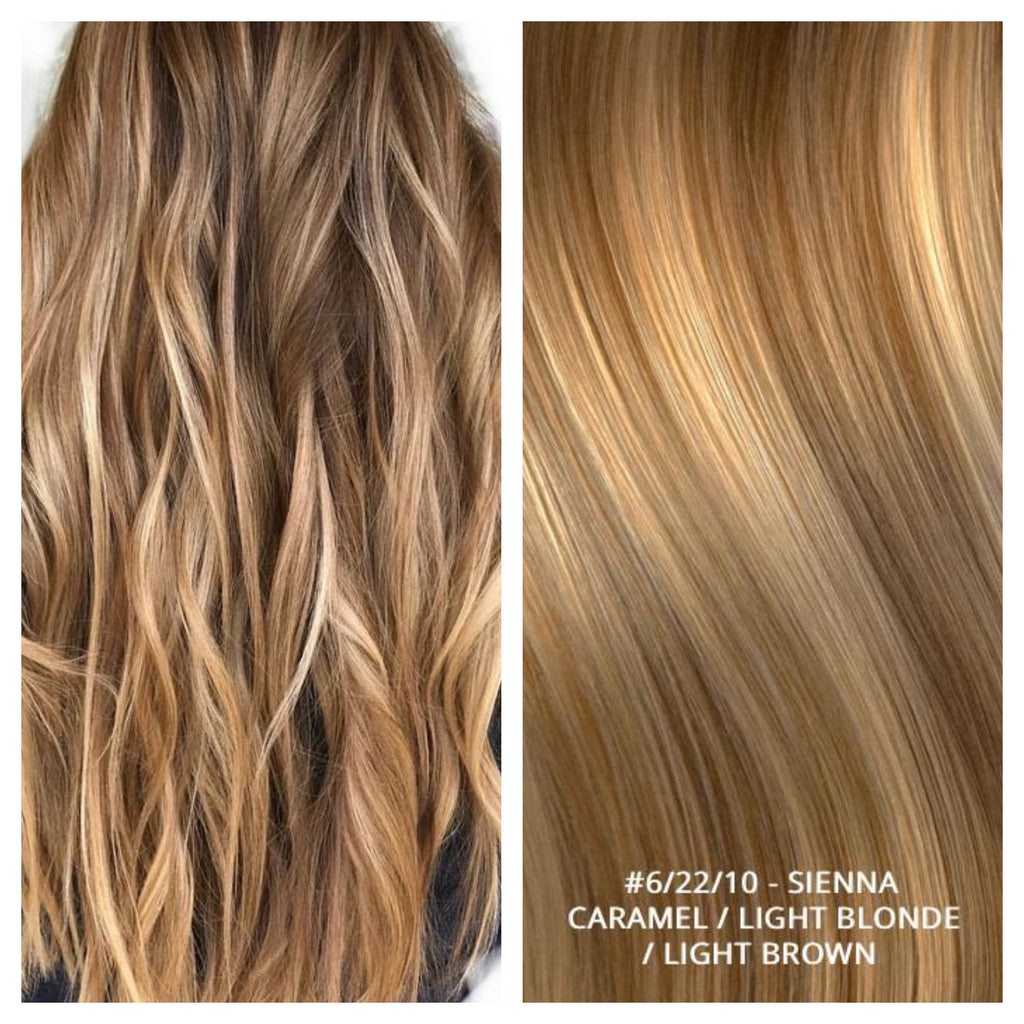 RUSSIAN WEFT WEAVE HAIR EXTENSIONS HIGHLIGHTS #6/22/10 - SIENNA - CARAMEL / LIGHT BLONDE / LIGHT BROWN