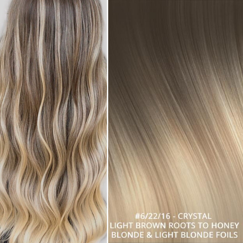 Russian tape short root balayage ombre hair extensions #6/22/16 - CRYSTAL - LIGHT BROWN ROOTS TO HONEY BLONDE & LIGHT LONDE FOILS