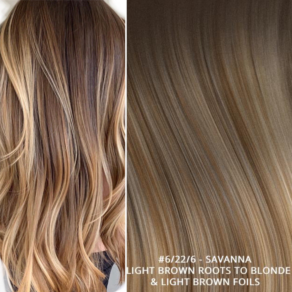 RUSSIAN TAPE BALAYAGE OMBRE HAIR EXTENSIONS #6/22/6 - SAVANNA - LIGHT BROWN ROOTS TO BLONDE & LIGHT BROWN FOILS