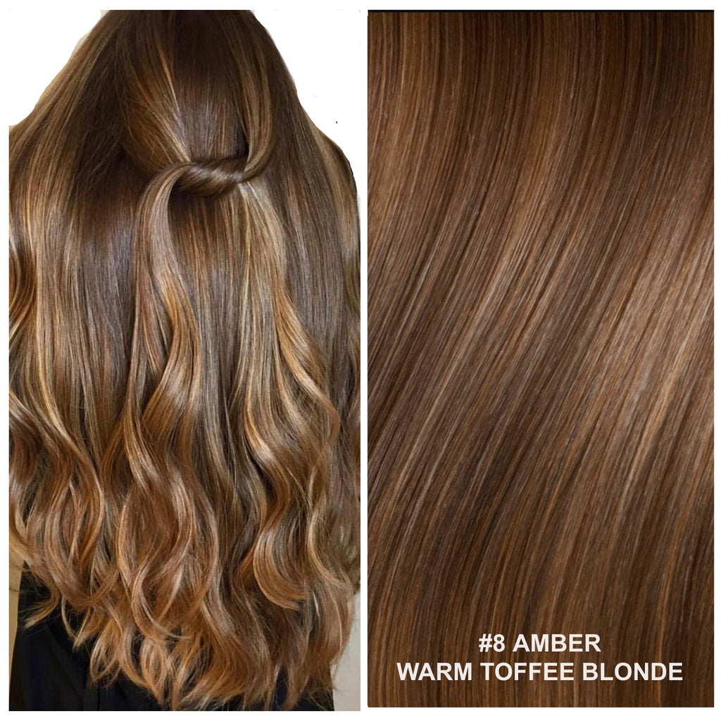RUSSIAN WEFT WEAVE HAIR EXTENSIONS #8 AMBER WARM TOFFEE BLONDE