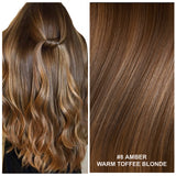 RUSSIAN TAPE HAIR EXTENSIONS #8 - AMBER - WARM TOFFEE BLONDE