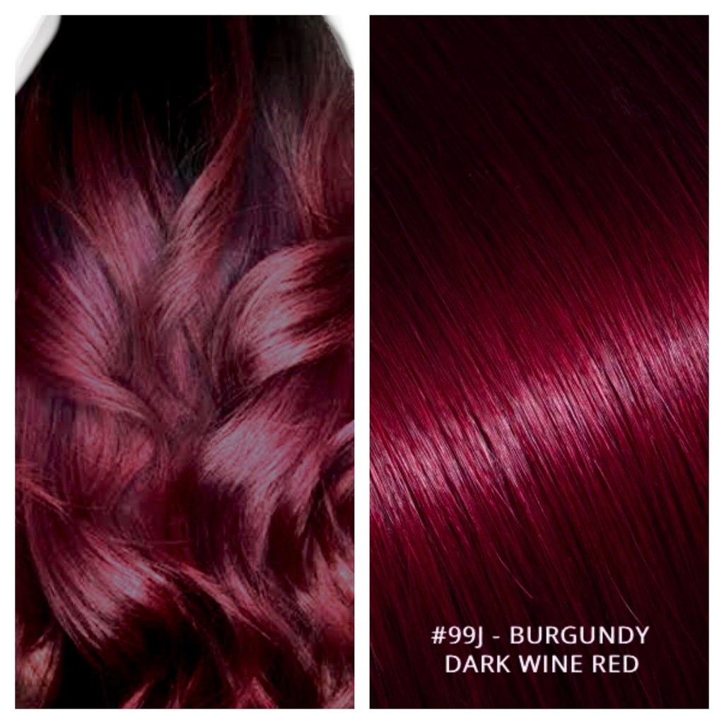 RUSSIAN TAPE HAIR EXTENSIONS #99J - BURGUNDY - DARK WINE RED
