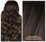 RUSSIAN TAPE HAIR EXTENSIONS HIGHLIGHTS #1B/6/4 - MALDIVES - DARK BROWN WITH LIGHT AND MEDIUM BROWN ENDS