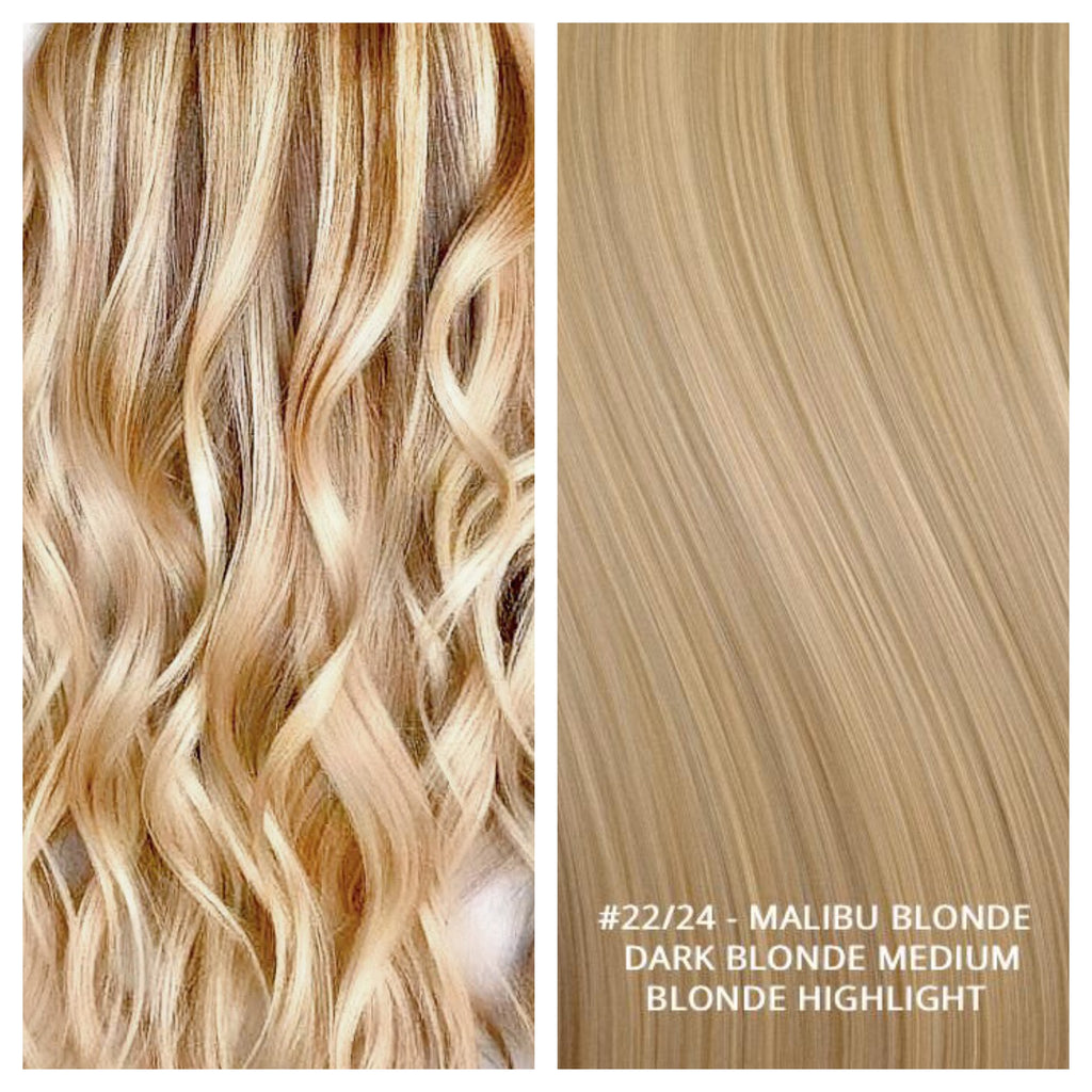 RUSSIAN WEFT WEAVE HAIR EXTENSIONS HIGHLIGHTS #22/24 - MALIBU BLONDE - DARK BLONDE MEDIUM BLONDE HIGHLIGHT