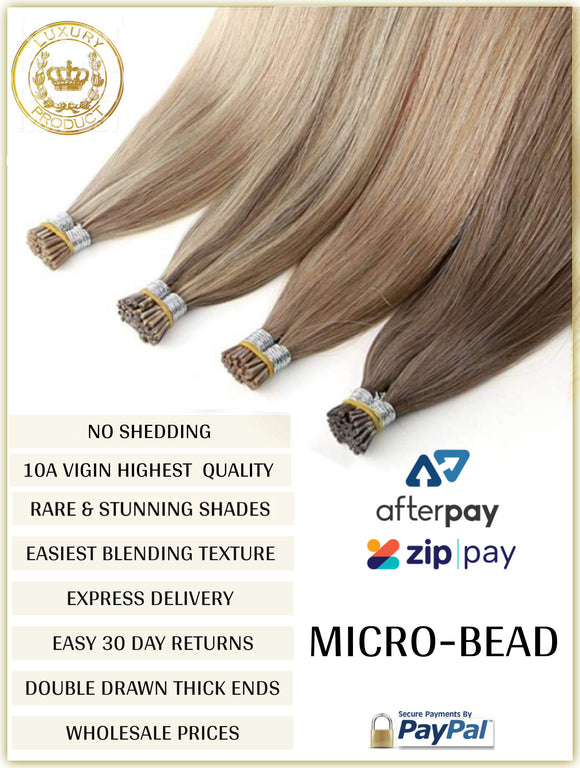 RUSSIAN MICRO-BEAD I TIP HAIR EXTENSIONS 10A GRADE 50 GRAMS 50 PIECES