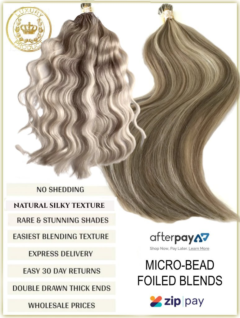 FOILED BLENDS RUSSIAN MICRO-BEAD I TIP HAIR EXTENSIONS 50 GRAMS 50 PIECES