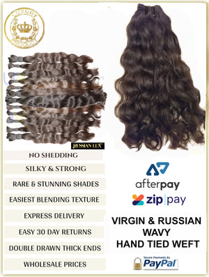 "VIRGIN RUSSIAN WAVY HAND TIED WEFTS - 10.5"" WIDE - 30 GRAMS"