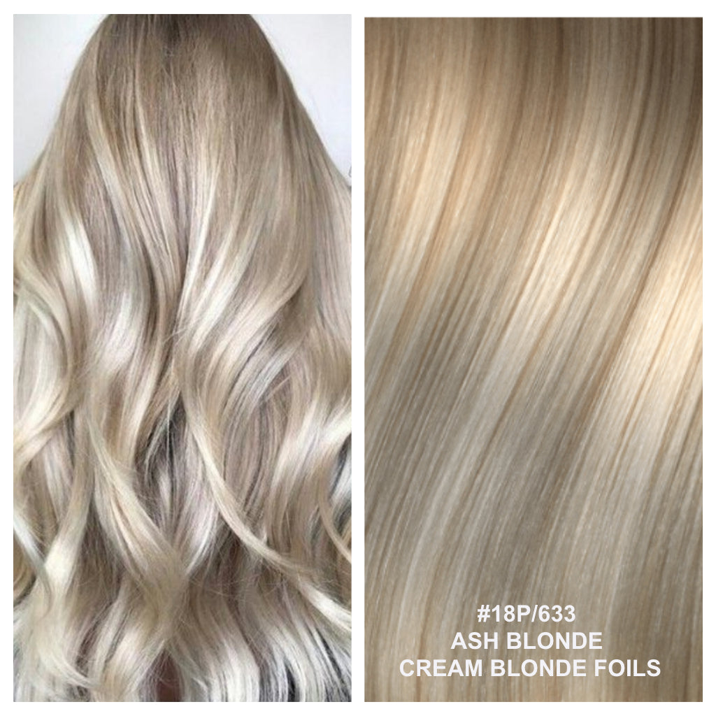 RUSSIAN TAPE HAIR EXTENSIONS HIGHLIGHTS #18P/633 - ARIA - ASH BLONDE / CREAM BLONDE FOILS