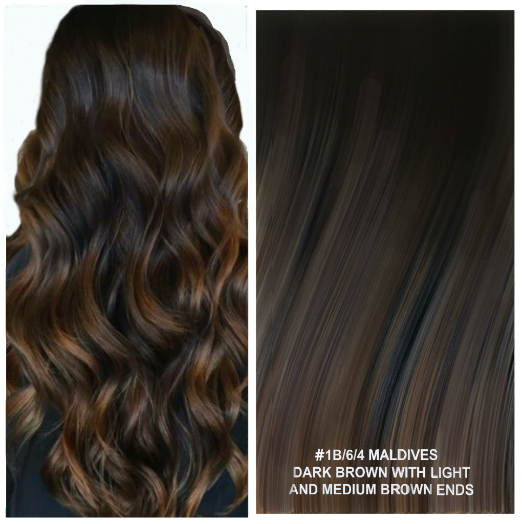 Russian tape short root balayage ombre hair extensions #1B/6/4 - MALDIVES - DARK BROWN WITH LIGHT AND MEDIUM BROWN ENDS