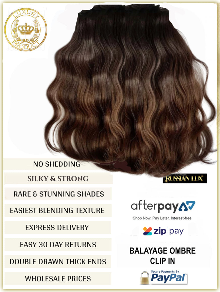 OMBRE / BALAYAGE LONG ROOT STRETCH - RUSSIAN CLIP-IN HAIR EXTENSIONS - 10 PIECES FULL VOLUME - 150 GRAMS