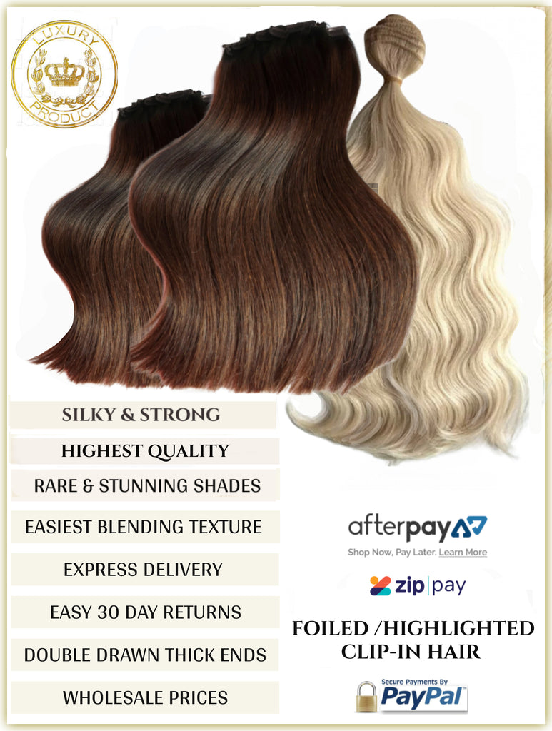 FOILED RUSSIAN CLIP-IN HAIR EXTENSIONS 150 GRAMS - 10 PIECES SUPER THICK