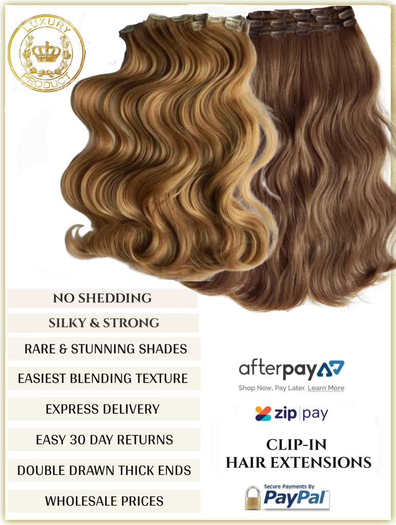 RUSSIAN CLIP-IN HAIR EXTENSIONS - 10 PIECES FULL VOLUME - 150 GRAMS