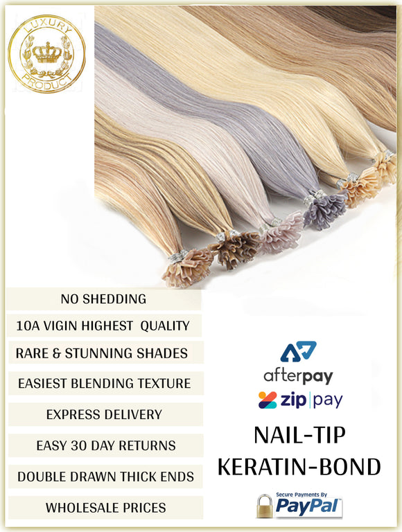 RUSSIAN KERATIN BOND / NAIL TIP HAIR EXTENSIONS 10A GRADE 50 GRAMS 50 PIECES