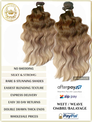 OMBRE / BALAYAGE LONG ROOT STRETCH - RUSSIAN WEFT / WEAVE HAIR EXTENSIONS 100 GRAMS