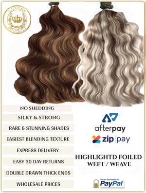 FOILED RUSSIAN WEFT / WEAVE HAIR EXTENSIONS 100 GRAMS