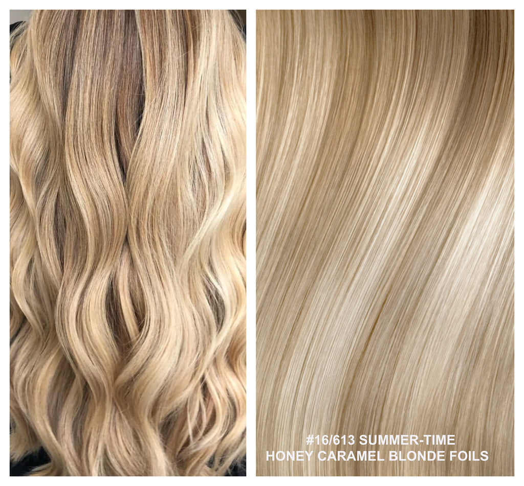 RUSSIAN KERATIN BOND NAIL TIP HAIR EXTENSIONS HIGHLIGHTS  #16/613 - SUMMER-TIME - HONEY CARAMEL BLONDE FOILS