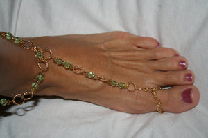 Peridot and Gold Barefoot Sandal