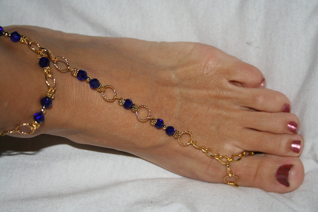 Dark Blue & Gold (plated) Fancy Barefoot Sandal