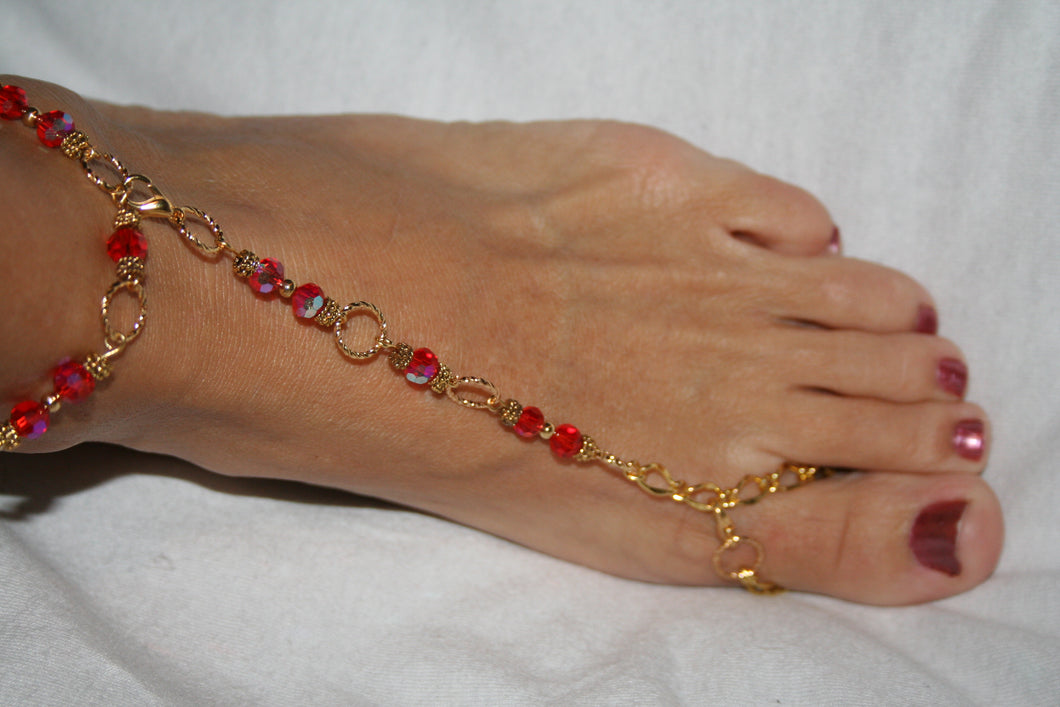 Red and Gold Barefoot Sandal