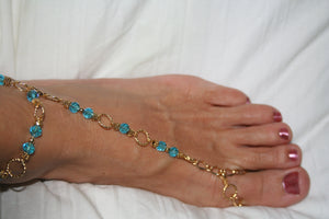 Teal and Gold Barefoot Sandal