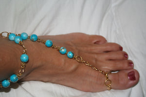 Light Blue w/Hint of Gold Barefoot Sandal