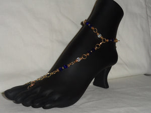 Dark Blue and White Fancy Barefoot Sandal