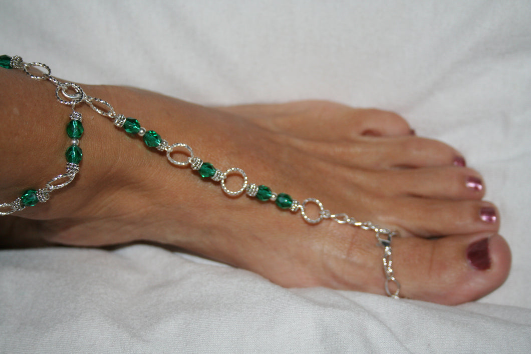Emerald Green Fancy Barefoot Sandal