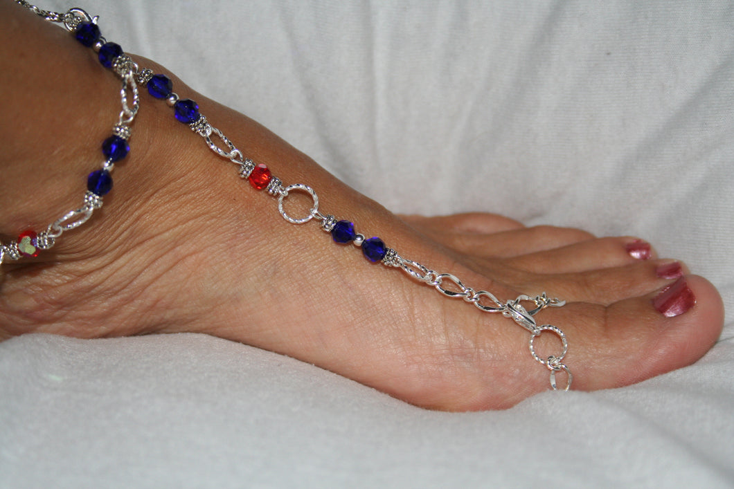 Red & Blue Fancy Barefoot Sandal
