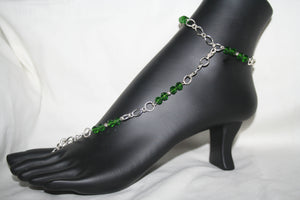 Double Bead Green Fancy Barefoot Sandal