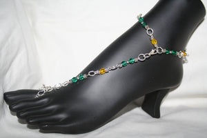 Green & Yellow Fancy Barefoot Sandal