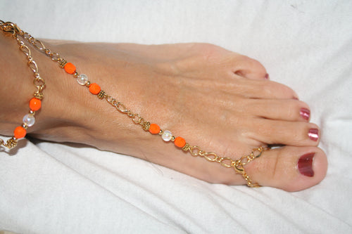 Orange & White Barefoot Sandal