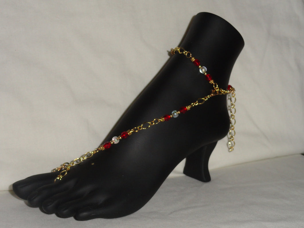 Ruby Red & White Barefoot Sandal
