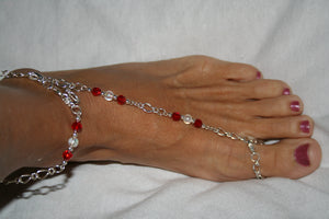 Red & White Barefoot Sandal