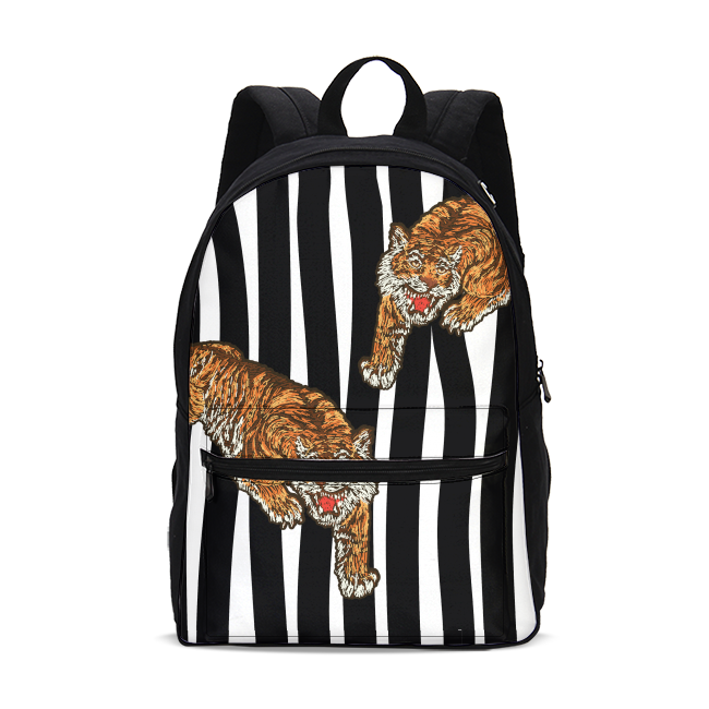 Tiger Print Small Canvas Backpack