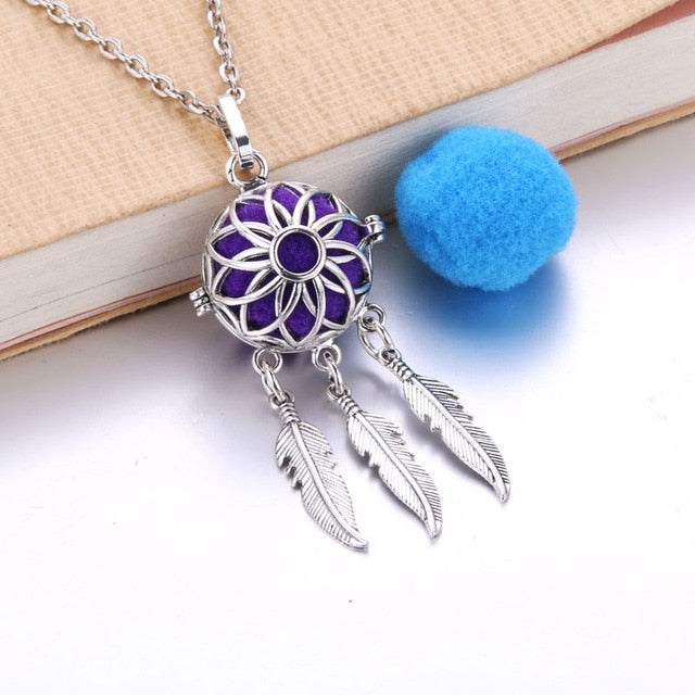 Vintage Feather Essential Oil Diffuser Necklace