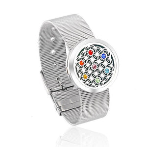 Chakra Essential Oil Diffuser Bracelet - Stainless Steel
