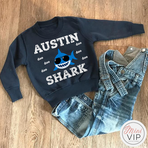 Image of Personalised Baby Shark Navy Sweatshirt