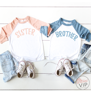 Brother Sister Baseball Style T-Shirt - Sibling Style, sold separately.
